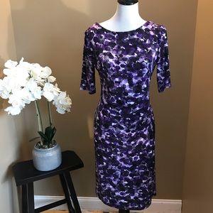Connected Apparel Purple Sheath Dress Size 8